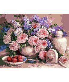 Картина по номерам Чайные розы и сливы 40 х 50 см (AS0006)