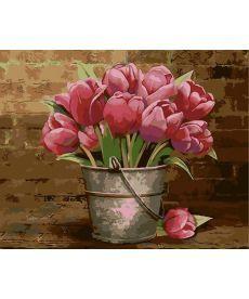 Картина по номерам Букет розовых тюльпанов 40 х 50 см (AS0009)