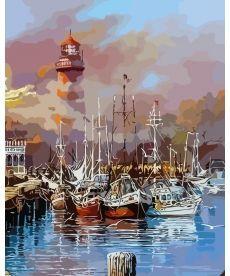 Картина по номерам Утро на лодочном пирсе 40 х 50 см (AS0136)