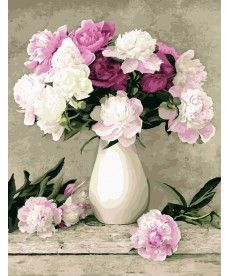 Картина по номерам Пионы в белой вазе 40 х 50 см (BK-G069)