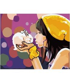 Картина по номерам Девочка с кроликом 40 х 50 см (BK-G111)