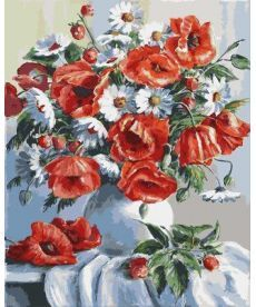 Картина по номерам Маки и ромашки 40 х 50 см (BK-GX3812)