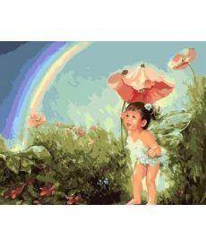 Картина по номерам Малышка в волшебном саду 40 х 50 см (BK-GX7052)