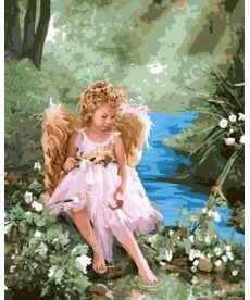 Картина по номерам Ангелочек на берегу ручья 40 х 50 см (BK-GX7054)