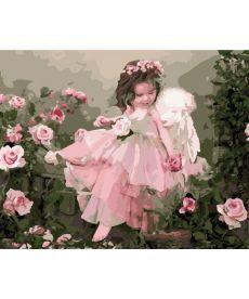 Картина по номерам Ангелочек в цветах 40 х 50 см (BK-GX7400)