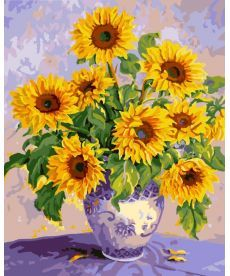 Картина по номерам Подсолнухи в сиреневой вазе 40 х 50 см (BK-GX7689)