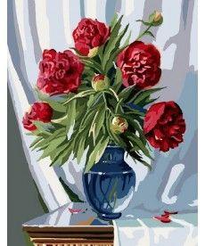 Картина по номерам Букет бордовых пионов 40 х 50 см (BK-GX7839)