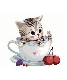 Картина по номерам Котик в чашке 40 х 50 см (BK-GX8396)
