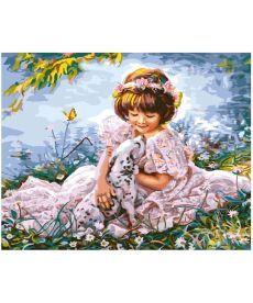 Картина по номерам Девочка с далматинцем 40 х 50 см (BK-GX8553)