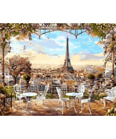 Картина по номерам Кафе с видом на Эйфелеву башню 40 х 50 см (BK-GX8876)