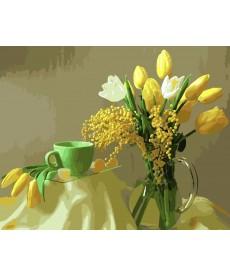 Картина по номерам Мимоза и желтые тюльпаны 40 х 50 см (BK-GX9245)