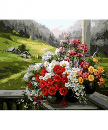 Картина по номерам Букеты на окне 40 х 50 см (BK-GX9500)