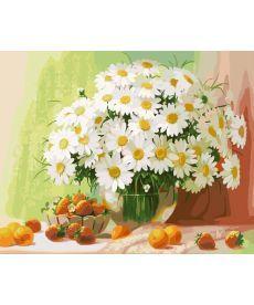 Картина по номерам Натюрморт с ромашками и абрикосами 40 х 50 см (BRM320)