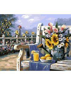 Картина по номерам Подсолнухи и лимонад 40 х 50 см (BRM4660)