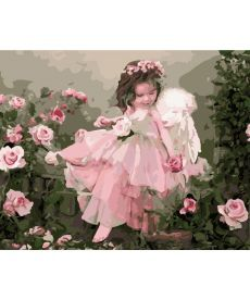Картина по номерам Ангелочек в цветах 40 х 50 см (BRM7400)