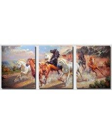 Картина по номерам Триптих. Дикие лошади Триптих 50 х 120 см (DZ211)