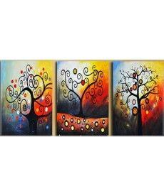 Картина по номерам Триптих. Дерево счастья Триптих 50 х 120 см (DZ259)