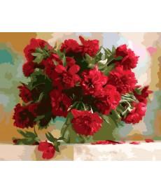 Картина по номерам Красные пионы 40 х 50 см (KH1133)
