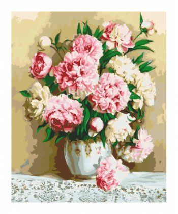 Картина по номерам Нежно-розовые пионы 40 х 50 см (KH2032)