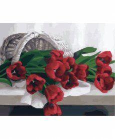 Картина по номерам Корзина с тюльпанами 40 х 50 см (KH2064)