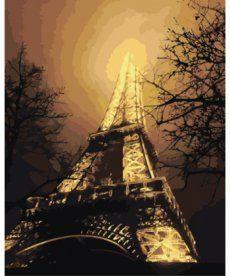 Картина по номерам Ночной вид на Эйфелеву башню 40 х 50 см (KH2190)
