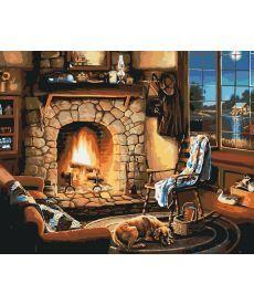 Картина по номерам Осенний вечер у камина 40 х 50 см (KH2236)