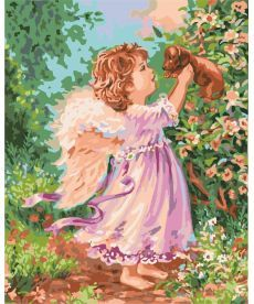 Картина по номерам Ангел со щенком 40 х 50 см (KH2314)