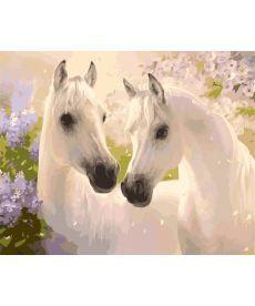 Картина по номерам Белые лошади 40 х 50 см (KH2433)