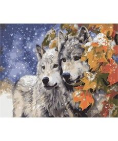 Картина по номерам Пара волков 40 х 50 см (KH2434)