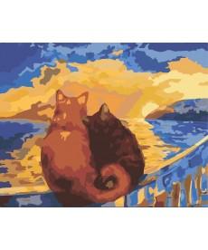 Картина по номерам Коты на закате 40 х 50 см (KH2438)