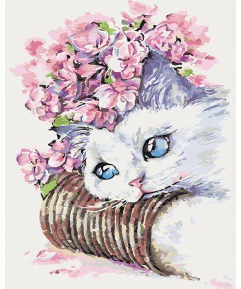 Картина по номерам Белый котик 40 х 50 см (KH2494)  - Фото 1