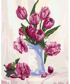 Картина по номерам Букет бордовых тюльпанов 40 х 50 см (KH2912)