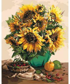 Картина по номерам Подсолнухи и осенние фрукты 40 х 50 см (KH3019)