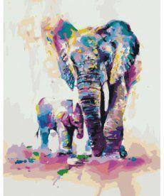 Картина по номерам Радужные слоны 40 х 50 см (KH4010)