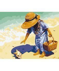 Картина по номерам Ракушка на берегу моря 40 х 50 см (KHO037)