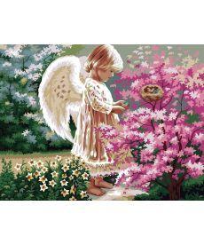 Картина по номерам Ангелочек и птички  40 х 50 см (KHO1048)