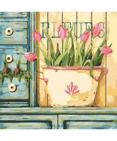 Картина по номерам Розовые тюльпаны 40 х 40 см (KHO2028)