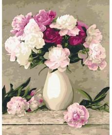 Картина по номерам Пионы в белой вазе 40 х 50 см (KHO2084)