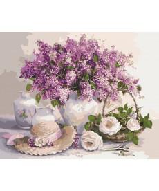 Картина по номерам Сирень и белые розы 40 х 50 см (KHO2230)