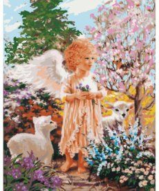 Картина по номерам Ангелок с овечками 40 х 50 см (KHO2305)