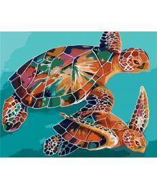 Картина по номерам Радужные черепахи 40 х 50 см (KHO2455)