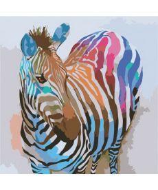Картина по номерам Зебра в стиле поп-арт 40 х 40 см (KHO2463)