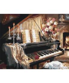 Картина по номерам Музыкальный вечер у камина 40 х 50 см (KHO2506)
