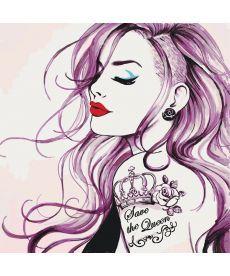 Картина по номерам Девушка с татуировкой (Save the Queen) 40 х 40 см (KHO2686)