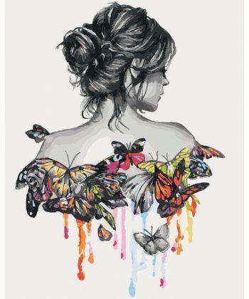 Картина по номерам В окружении бабочек 40 х 50 см (KHO2688)  - Фото 1