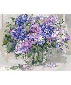 Картина по номерам Гортензия в стеклянной вазе 40 х 50 см (KHO2938)