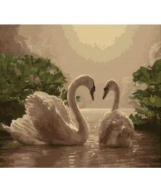 Картина по номерам Любовь (лебеди) 40 х 50 см (KHO301)