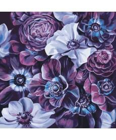Картина по номерам Пурпурные цветы 40 х 40 см (KHO3016)