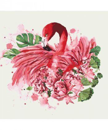 Картина по номерам Фламинго и пионы 40 х 40 см (KHO4042)