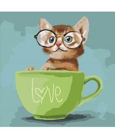 Картина по номерам Любопытный котенок 40 х 40 см (KHO4057)
